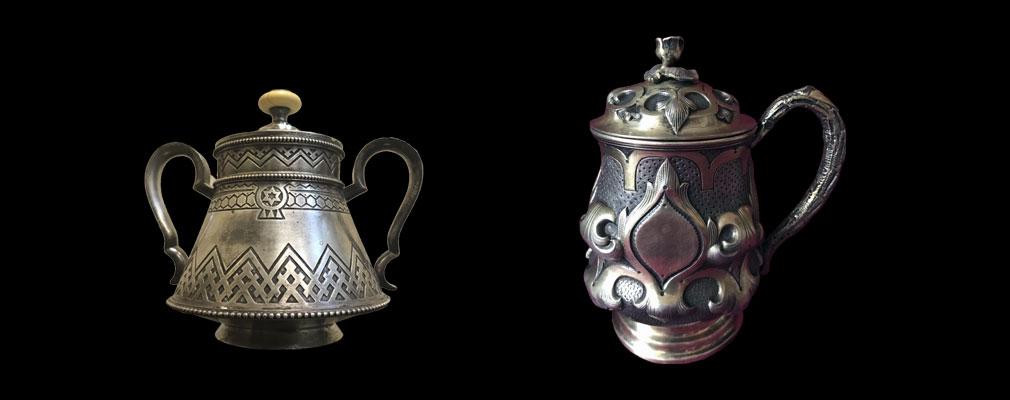 Антикварная посуда серебряная 84 пробы